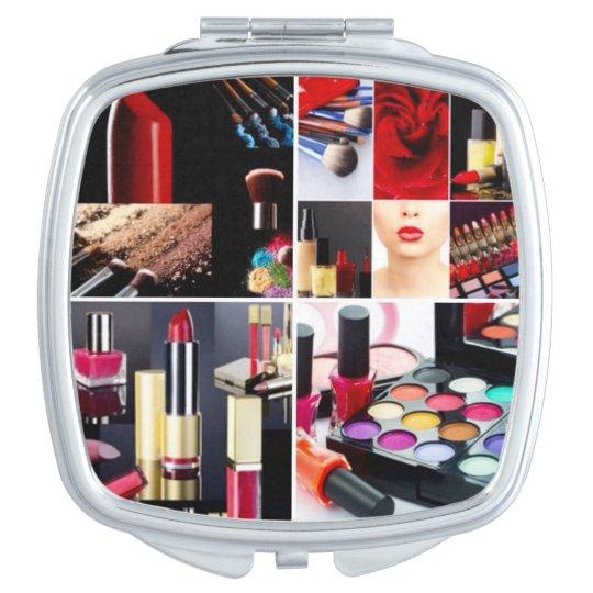 Collage cosmético colorido espejo de viaje