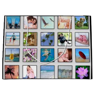 Collage cuadrado clásico de la foto del marco bolsa de regalo grande