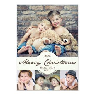 Collage cursivo de la foto de las Felices Navidad Invitación 12,7 X 17,8 Cm