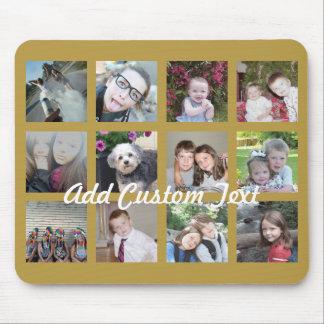 Collage de 12 fotos con el fondo del oro alfombrilla de ratón