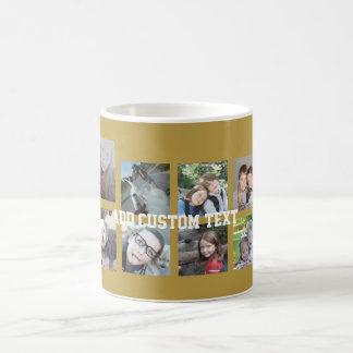 Collage de 12 fotos con el fondo del oro taza básica blanca