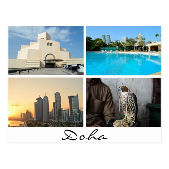 Collage de 4 fotos en la postal de Doha