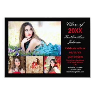 Collage de 5 fotos - invitación de la graduación