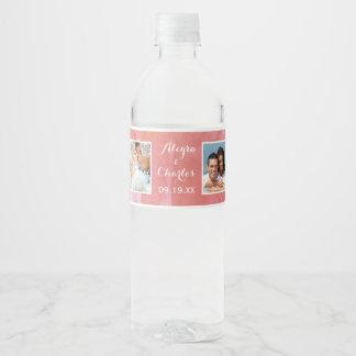 Collage de color salmón de la foto del boda de la etiqueta para botella de agua