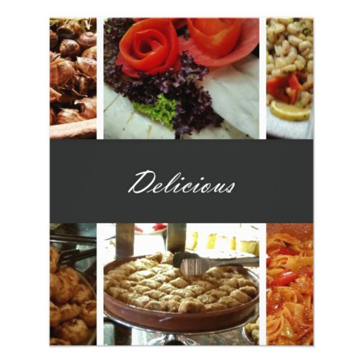 Collage de la comida tarjetas informativas