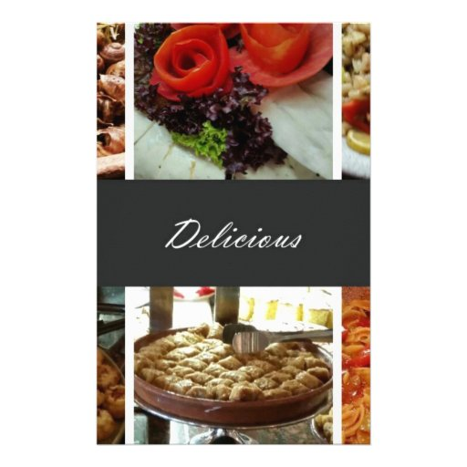 Collage de la comida tarjetones