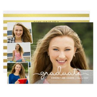 Collage de la foto de la graduación con la capa invitación 12,7 x 17,8 cm