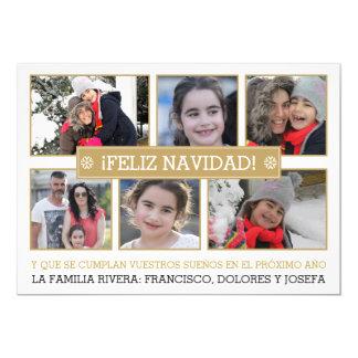 ¡Collage de la foto de seis NAVIDAD modernos del Invitación 12,7 X 17,8 Cm