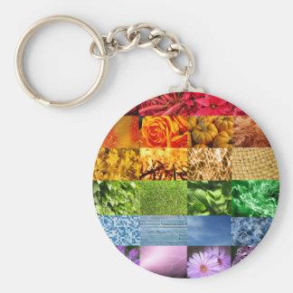 Collage de la foto del arco iris llavero redondo tipo chapa