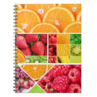 Collage de la fruta de la mezcla cuaderno