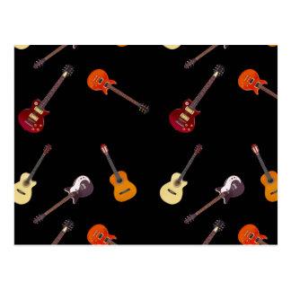 Collage de la guitarra acústica eléctrica y postal