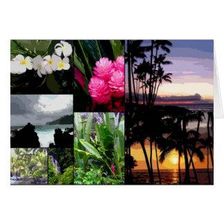 Collage de la isla hawaiana tarjeton