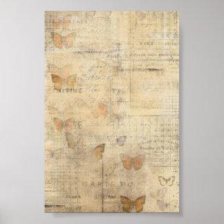 Collage de la mariposa del vintage poster