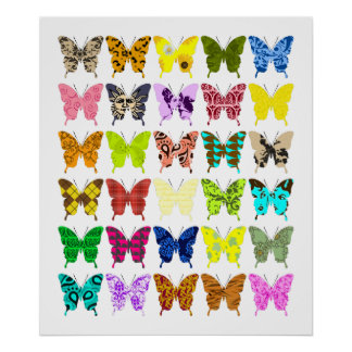 Collage de la mariposa posters