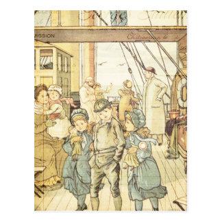 Collage de la nave del vintage del guión de los postal