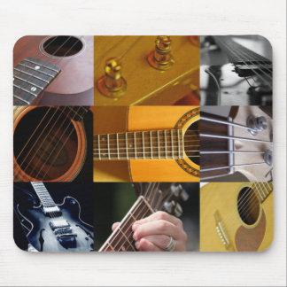 Collage de las fotos de la guitarra alfombrilla de ratón