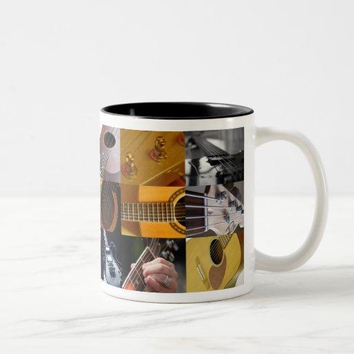 Collage de las fotos de la guitarra tazas de café