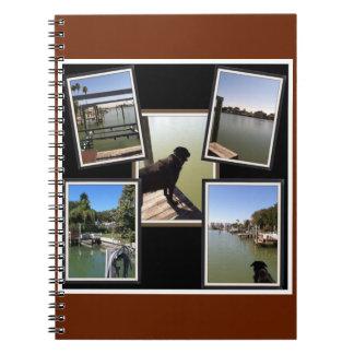 collage de las fotos del muelle y del perro libros de apuntes