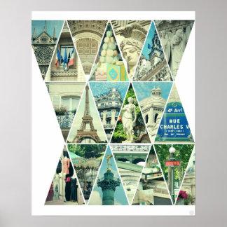 Collage de moda de la foto del triángulo de París  Poster