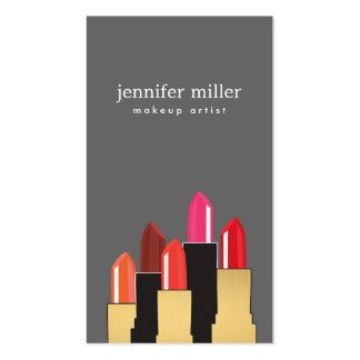 Collage de oro de la belleza y del lápiz labial en tarjetas de visita
