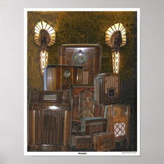 Collage de radio de madera viejo/de la antigüedad  poster
