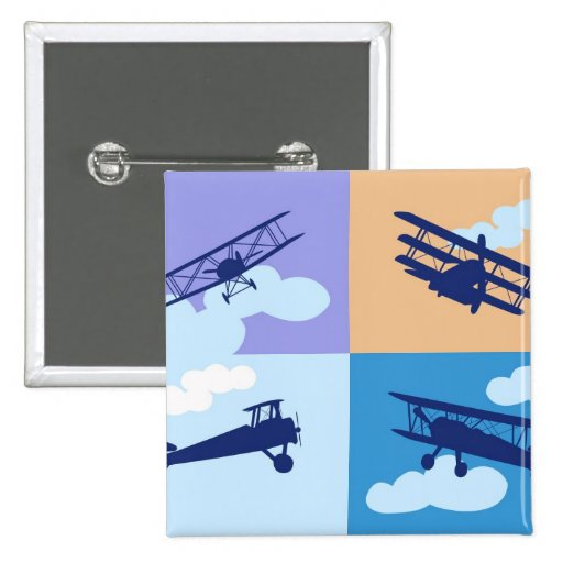 Collage del aeroplano en colores en colores pastel pins