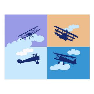 Collage del aeroplano en colores en colores pastel postal