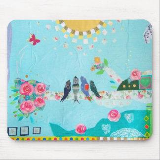 Collage del arte de la familia de pájaro alfombrillas de raton