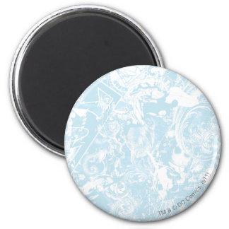 Collage del azul del superhombre imán redondo 5 cm