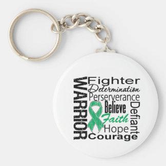 Collage del guerrero del cáncer de hígado llavero redondo tipo chapa