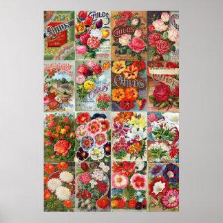 Collage del jardín de los paquetes de la semilla póster