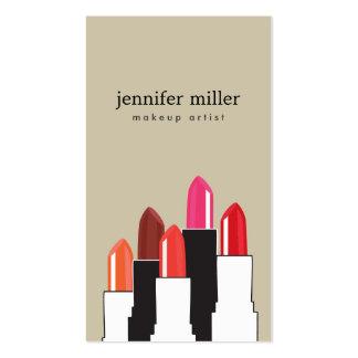 Collage del lápiz labial para el artista y la tarjetas de visita