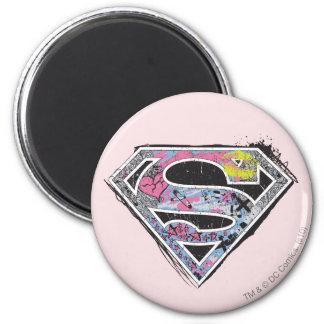 Collage del logotipo de Supergirl Imán Redondo 5 Cm