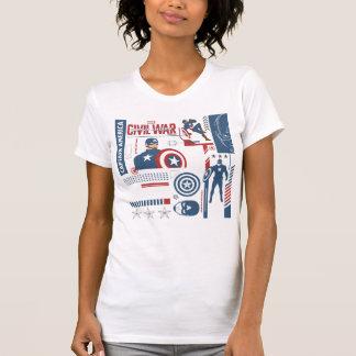 Collage del modelo de la guerra civil de capitán camiseta