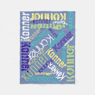 Collage del nombre de la manta azul personalizado