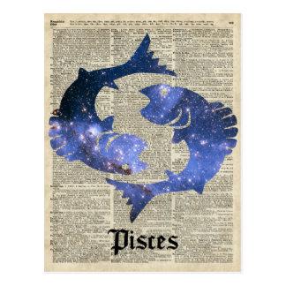 Collage del vintage de los pescados sobre la postal