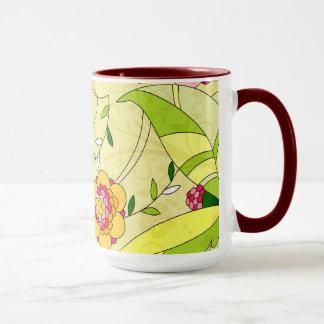 Collage floral abstracto retro taza