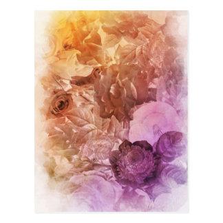 Collage floral del color de agua del arco iris postal