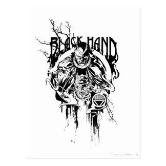 Collage gráfico de la mano negra 0, blanco y negro postal