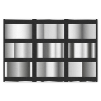 Collage metálico de plata negro papel de seda