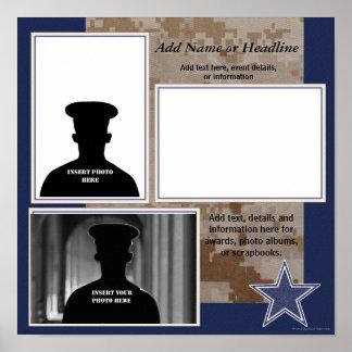 Collage militar azul de encargo de la foto de Camo Póster