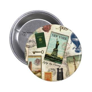 collage moderno del viaje del vintage pin