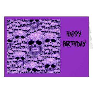Collage púrpura céltico del cráneo tarjeta