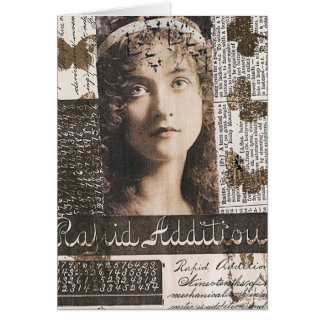 Collage rápido de las técnicas mixtas de la tarjeta de felicitación