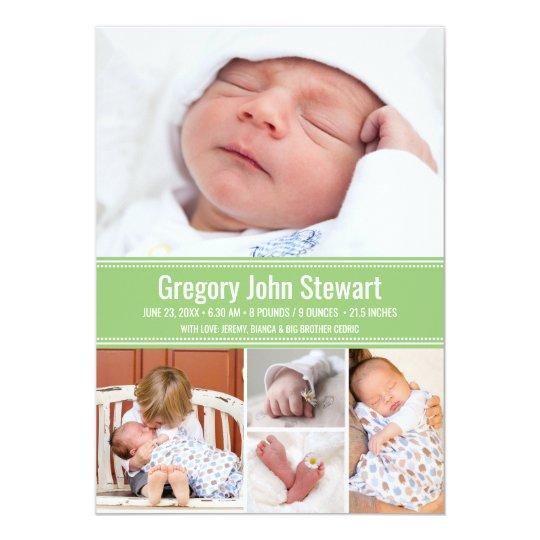 Collage recién nacido de la foto de la invitación