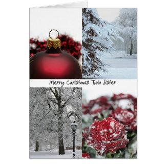 Collage rojo del invierno del navidad gemelo de la tarjeta de felicitación