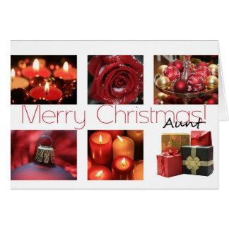 Collage rojo, negro y blanco de la tía del inviern tarjeta de felicitación