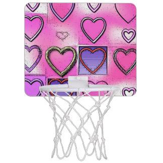 Collage rosado brillante femenino moderno del mini aro de baloncesto