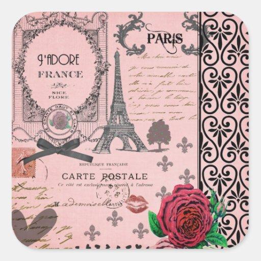 Collage rosado de París del vintage Calcomania Cuadradas