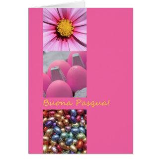 Collage rosado de saludo de Pascua del italiano Tarjetón
